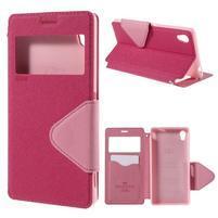 Peňaženkové puzdro s okienkom pre Sony Xperia M4 Aqua - ružové
