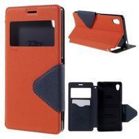 Peňaženkové puzdro s okienkom pre Sony Xperia M4 Aqua - oranžové