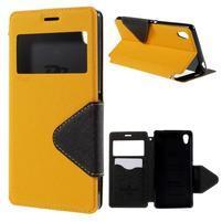 Peňaženkové puzdro s okienkom pre Sony Xperia M4 Aqua - žlté