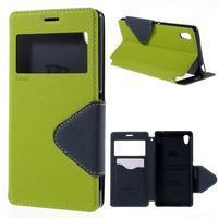 Peňaženkové puzdro s okienkom pre Sony Xperia M4 Aqua - zelené