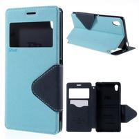 Peňaženkové puzdro s okienkom pre Sony Xperia M4 Aqua - svetlomodré