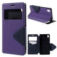 Peňaženkové puzdro s okienkom pre Sony Xperia M4 Aqua - fialové