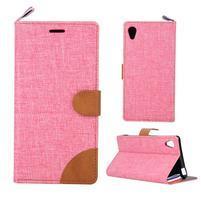 Jeans Peňaženkové puzdro pre mobil Sony Xperia M4 Aqua - ružové
