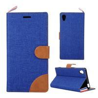 Jeans Peňaženkové puzdro pre mobil Sony Xperia M4 Aqua - modré