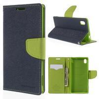 Ochranné puzdro pre Sony Xperia M4 Aqua - tmavomodré/zelené