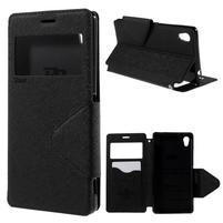 Peňaženkové puzdro s okienkom pre Sony Xperia M4 Aqua - čierne