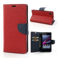 Fancy Peňaženkové puzdro pre mobil Sony Xperia Z1 - červené