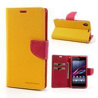 Fancy Peňaženkové puzdro pre mobil Sony Xperia Z1 - žlté