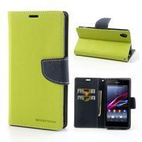 Fancy peněženkové pouzdro na mobil Sony Xperia Z1 - zelené