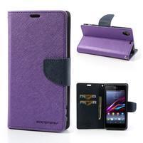 Fancy Peňaženkové puzdro pre mobil Sony Xperia Z1 - fialové