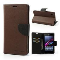 Fancy peněženkové pouzdro na mobil Sony Xperia Z1 - hnědé