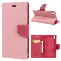 Peňaženkové puzdro pre mobil Sony Xperia Z3 - ružové