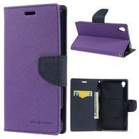Peňaženkové puzdro pre mobil Sony Xperia Z3 - fialové