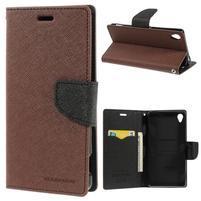 Peňaženkové puzdro pre mobil Sony Xperia Z3 - hnedé