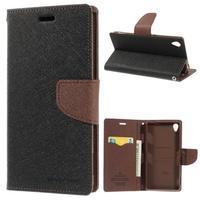 Peňaženkové puzdro pre mobil Sony Xperia Z3 - čierne/hnedé