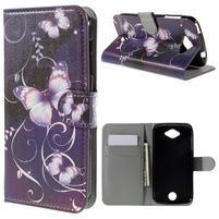 Valet peňaženkové puzdro pre Acer Liquid Z530 - fialový motýľ