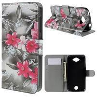Valet peňaženkové puzdro pre Acer Liquid Z530 - červené kvety