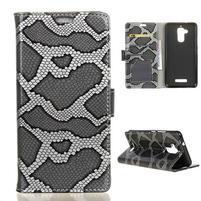 Snake PU kožené puzdro pre Asus Zenfone 3 Max - šedé