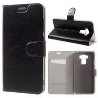 Horse PU kožené puzdro pre Asus Zenfone 3 Max ZC553KL - čierne