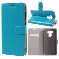 Horse PU kožené puzdro pre Asus Zenfone 3 Max ZC553KL - modré