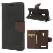 Čierné/hnedé peňaženkové puzdro pre Asus Zenfone 5