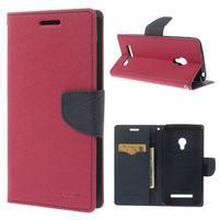 Rose/tmavo modré peňaženkové puzdro pre Asus Zenfone 5