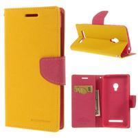 Žluté/rose peňaženkové puzdro pre Asus Zenfone 5