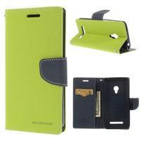 Zelené/tmavě modré peňaženkové puzdro na Asus Zenfone 5