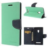 Azurové/tmavě modré peňaženkové puzdro na Asus Zenfone 5