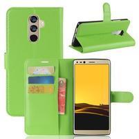 Wallet PU kožené zapínacie puzdro na Doogee Mix 2 - zelené