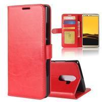 Standy PU kožené peňaženkové puzdro na Doogee Mix 2 - červené