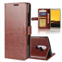 Standy PU kožené peňaženkové puzdro na Doogee Mix 2 - hnedé