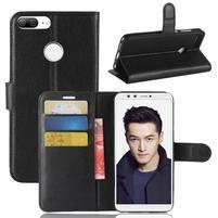 Wallet PU kožené zapínacie puzdro na Honor 9 Lite - čierne