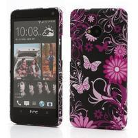 Plastový kryt na HTC One M7 - motýlci