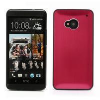Broušený hliníkový plastový kryt na HTC One M7 - červený