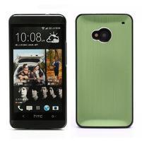 Broušený hliníkový plastový kryt na HTC One M7 - zelený