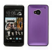 Broušený hliníkový plastový kryt pre HTC One M7 - fialový