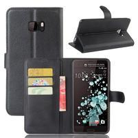 Wallet PU kožené zapínacie puzdro na HTC U Ultra - čierne