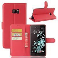 Wallet PU kožené zapínacie puzdro na HTC U Ultra - červené