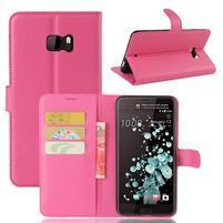 Wallet PU kožené zapínacie puzdro na HTC U Ultra - rose