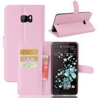Wallet PU kožené zapínacie puzdro na HTC U Ultra - ružové