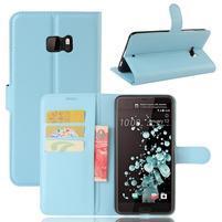 Wallet PU kožené zapínacie puzdro na HTC U Ultra - svetlomodré