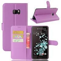 Wallet PU kožené zapínacie puzdro na HTC U Ultra - fialové