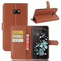 Wallet PU kožené zapínacie puzdro na HTC U Ultra - hnedé