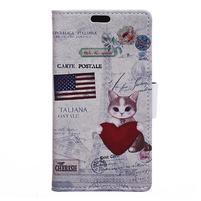Emotive PU kožené puzdro na Huawei Nova - US mačička