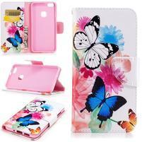 Emotive PU kožené puzdro pre Huawei P10 Lite - motýľci