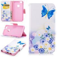 Emotive PU kožené puzdro pre Huawei P10 Lite - modrý motýľ