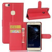 Leathy PU kožené puzdro pre mobil Huawei P10 Lite - červené