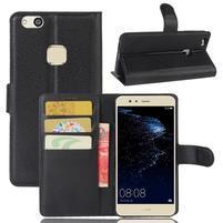Leathy PU kožené puzdro pre mobil Huawei P10 Lite - čierné