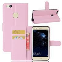 Leathy PU kožené puzdro pre mobil Huawei P10 Lite - ružové